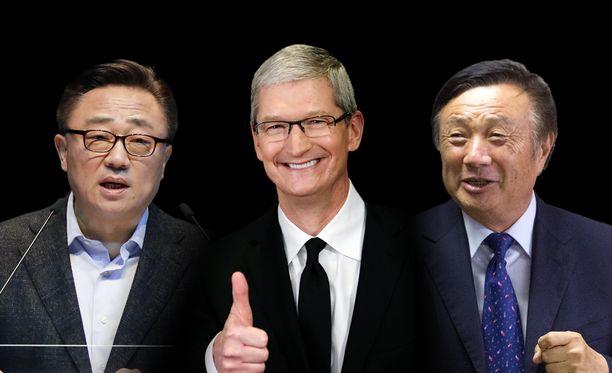 Samsungin toimitusjohtaja DJ Koh, Applen toimitusjohtaja Tim Cook sekä Huawein toimitusjohtaja Ren Zhengfei.