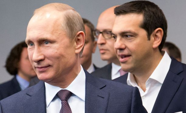Venäjä miettiin energia-avun antamista pulassa olevalle Kreikalle. Kuvassa Venäjän presidentti Vladimir Putin ja Kreikan pääministeri Alexis Tsipras.