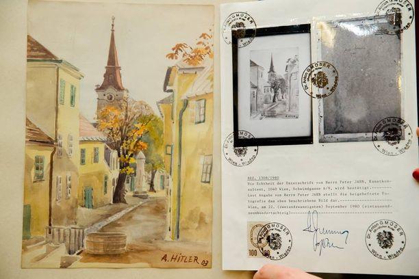 Itävaltalaisen Gumpoldskirchenin pikkukaupungin näkymä vuonna 1903 Adolf Hitlerin maalaamana.