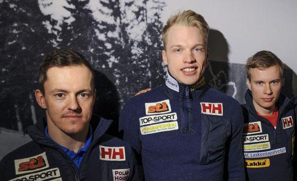 Sami Jauhojärvi (vas.), Iivo Niskanen ja Matti Heikkinen haluavat kolmoisvoiton.
