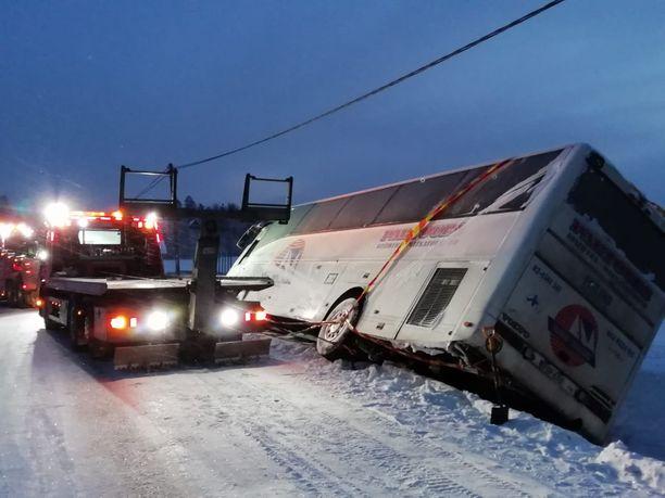 Onnettomuudessa linja-auto oli kallistunut pientareelle oikealle kyljelleen.