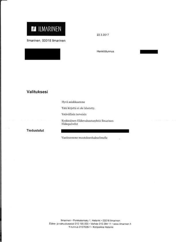 """""""Tätä kirjettä ei ole lähetetty"""", Ilmarisen kummallisessa kirjeessä väitettiin."""