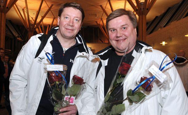 Jari Kurri (vas.) ja Timo Jutila muodostivat vuosina 2003-14 Leijonien johdon.