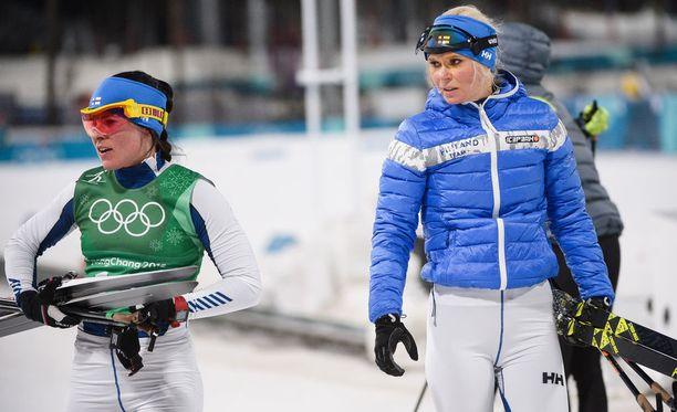Krista Pärmäkoski (vas.) ja Mari Laukkanen olivat viidensiä olympiapariviestissä.