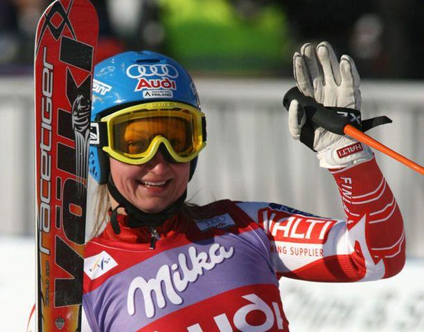 Tanja Poutiainen hyppäsi podiumille Sloveniassa.