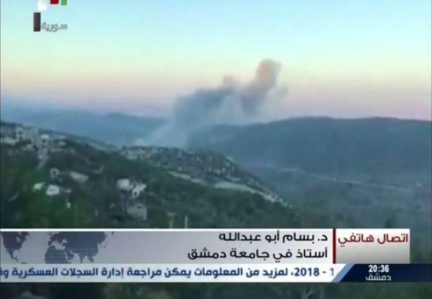 Syyrian televisio näytti heinäkuussa kuvaa väitetystä Israelin ohjusiskusta Masyafin tutkimuskeskukseen.