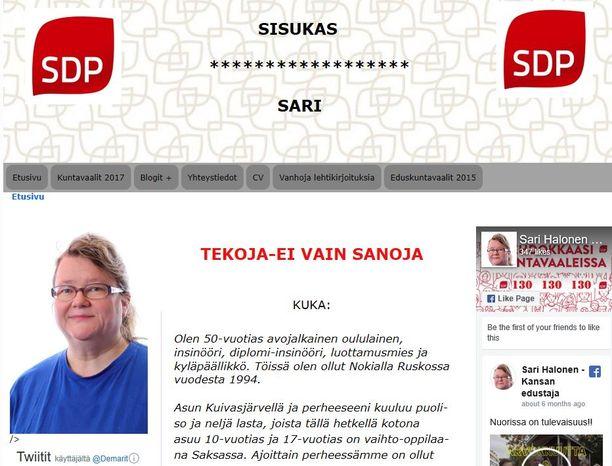 Kuvakaappaus Halosen verkkosivuilta.
