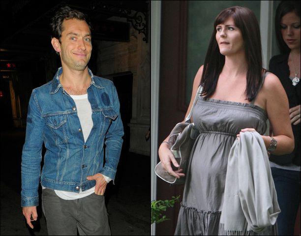 Tuleva isä Jude Law virnisteli poistuessaan ravintolasta viikonloppuna. Samantha Burken raskaus tuli hänen perheelleen järkytyksenä.