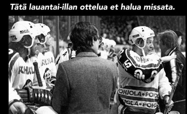Tällä tavalla TPS mainostaa paidan jäädyttämistä tiedotteessaan. Kuvassa vasemmalla Timo Nummelin ja oikealla Reijo Leppänen, numero 15.