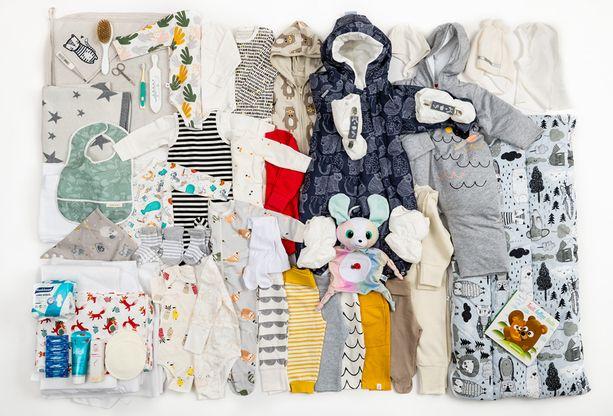 Tässä ovat kaikki äitiyspakkauksen tuotteet.