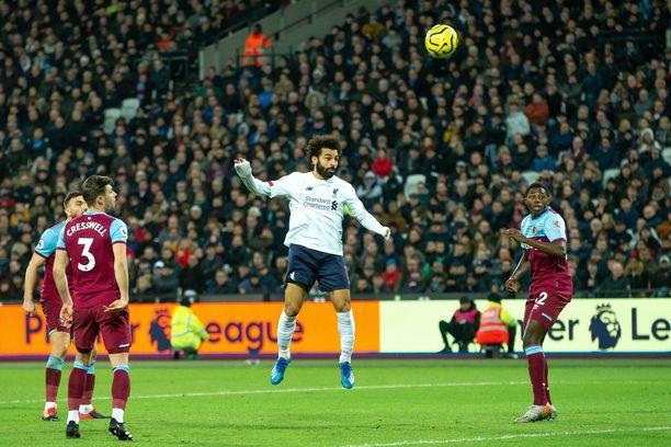 Mo Salahin maali ja maalisyöttö riittivät West Hamin kukistamiseen keskiviikkoiltana.