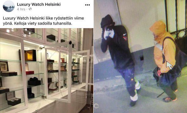 Poliisin julkaisemalla valvontakamerakuvalla näkyvät varkaat, jotka murtautuivat viime yönä helsinkiläiseen luksuskelloliikkeeseen.