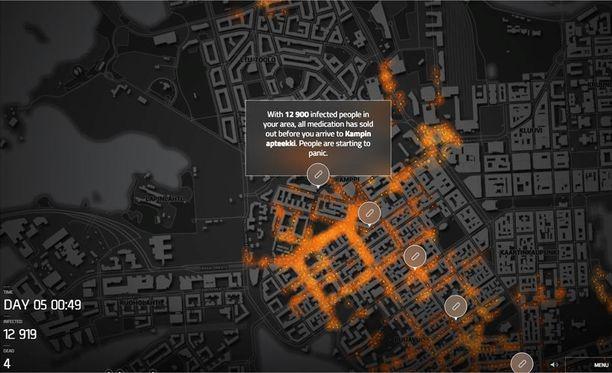 Collapse sisältää tiedot myös Helsingistä, jonka kaduilla voi simuloida taudin leviämistä.
