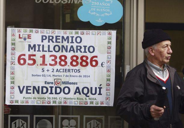 Vuoden 20154 tammikuussa Euromillions-potti oli 65 miljoonaa euroa.