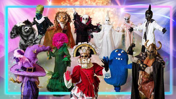Kuvassa uuden Masked Singer Suomi -ohjelman kaikki uudet hahmot.