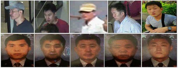 Nämä viisi pohjoiskorealaista on etsintäkuulutettu. Alarivissä miesten passikuvat.