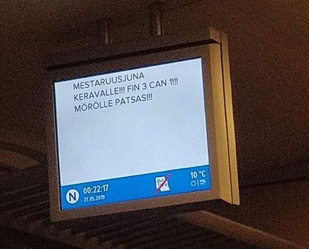 """""""Mestaruusjuna"""" kulki Helsingistä Keravalle puolenyön jälkeen."""