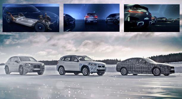 Sähköautokolmikko talvitesteissa: i4, iX3 ja iNEXT. Yläkuvat kuvakaappauksia BMW:n videoesityksestä.