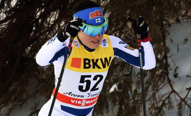 Krista Pärmäkoski lykki takaa-ajokisassa neljänneksi.