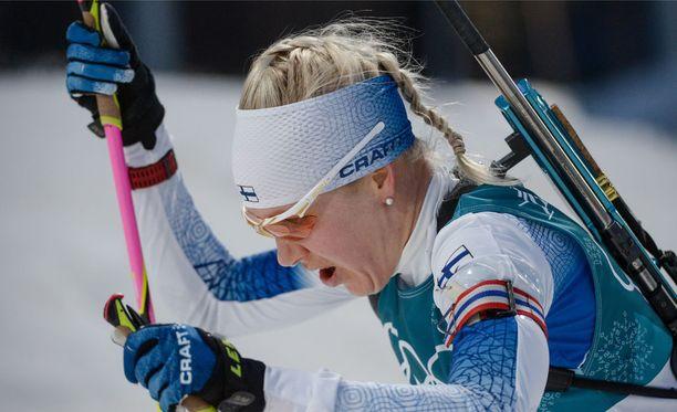 Maailmancupia johtava Kaisa Mäkäräinen on toistaiseksi ollut Korean olympiakisoissa sijoilla 25, 22 ja 13.