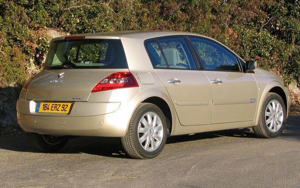 Taannoinen Renault Megane on listauksen mukaan vikaantuva, kun ikää tulee.