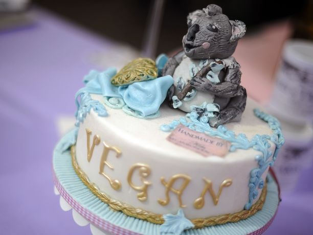 Vegaaninen kakku esillä Dortmundissa Saksassa.