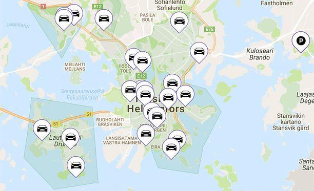 GoNow:n autoja on saatavilla Helsingin lisäksi Vantaalta.