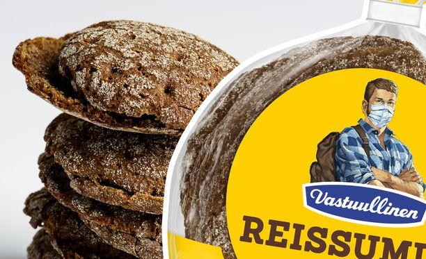 Miljoonaan ruisleipäpakettiin on painettu kasvomaskiin pukeutunut reissumies.