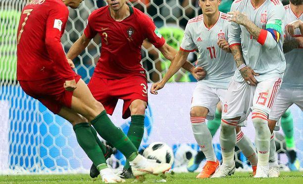Tällä tavalla Cristiano Ronaldo osuu palloon.