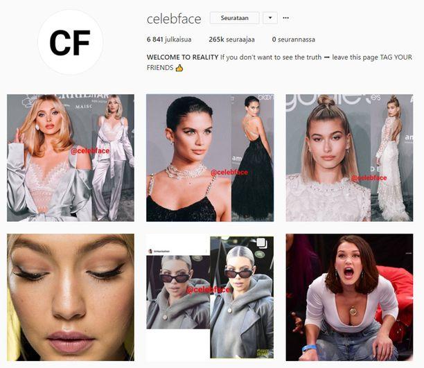 Instagram-kanava Celebface on omistautunut käräyttämään julkkiksia, jotka muokkaavat ulkonäköään sovelluksilla. Tili on yksityinen.