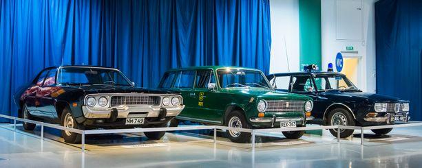 Valtion menopelit: edustava Plymouth Satellite ´72, Posti- ja lennätinlaitoksen Lada 1200 Kombi ´76 ja Saab 99 ´71 poliisiauto.