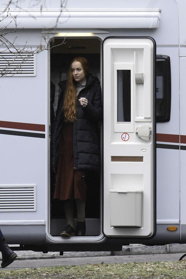 Dakota Johnson Suspirian kuvauspaikalla Berliinissä.