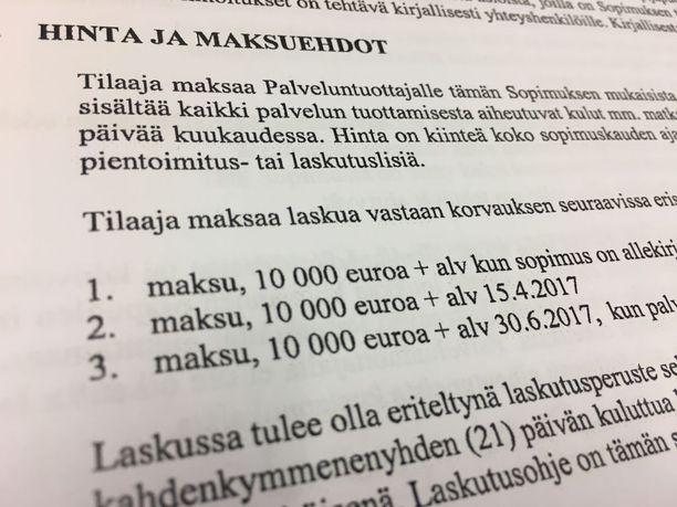 Sosiaali- ja terveysministeriö maksoi 30 000 euroa Aulalle ja toiset 30 000 euroa Aulan perustamalle yritykselle. Rahat maksettiin 7 500-10 000 euron suuruisissa tasaerissä tammikuun 2016 ja kesäkuun 2017 välisenä aikana.