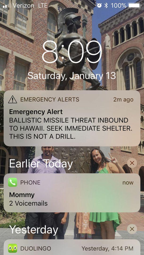 Hätäviesti säikäytti monet Havaijilla viime lauantaina.