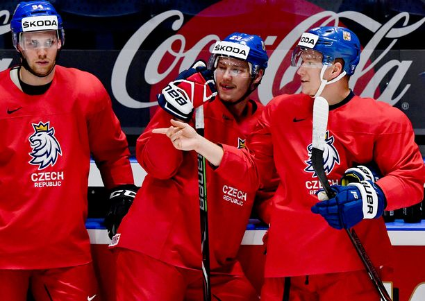 Czech players L-R RADEK FAKSA, DMITRIJ JASKIN, ONDREJ PALAT attend a training session of the Czech national team within the 2019 IIHF World Championship in Bratislava, Slovakia, on May 16, 2019, prior to the match against Latvia. (CTK Photo/Vit Simanek) All Over Press