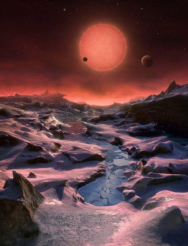 Taiteilijan näkemys Euroopan eteläisen observatorion (ESO) planeettalöydöstä.