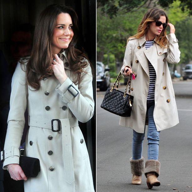 Kate Middleton tunnetaan klassisesta tyylistään. Rachel Bilson tietää trenssin sopivan erinomaisesti raitapaidan päälle.