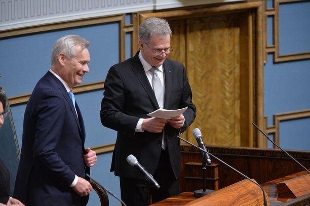 Tasavallan presidentti Sauli Niinistö ja puhemies Antti Rinne puhuivat valtiopäivien avajaisissa.