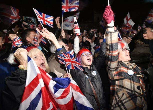 Britannia on eronnut Euroopan unionista. Kuva Lontoosta 31.1.2020.