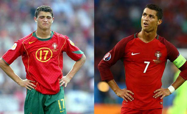 Cristiano Ronaldo on muuttunut vuosien 2004 ja 2016 EM-kisojen välillä muutenkin kuin vain ulkoisesti.