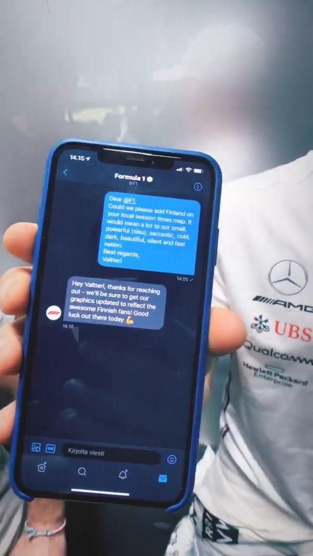 Bottas lähetti yksityisviestin F1:n Twitter-tilille.