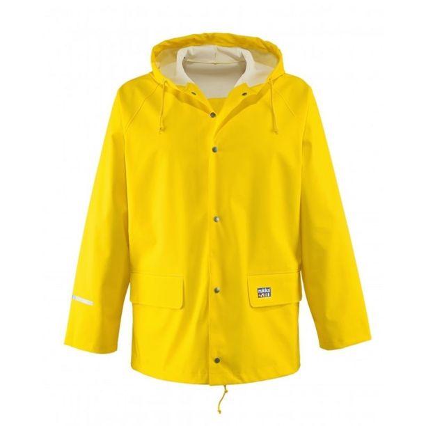 Tässä Rukan keltainen sadetakki, joka on tuttu liki jokaiselle suomalaiselle.