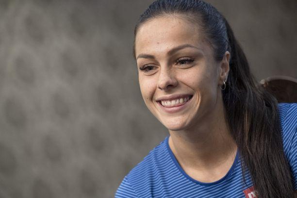 Maria Huntington jäi Dohaan lomailemaan MM-kisojen jälkeen.
