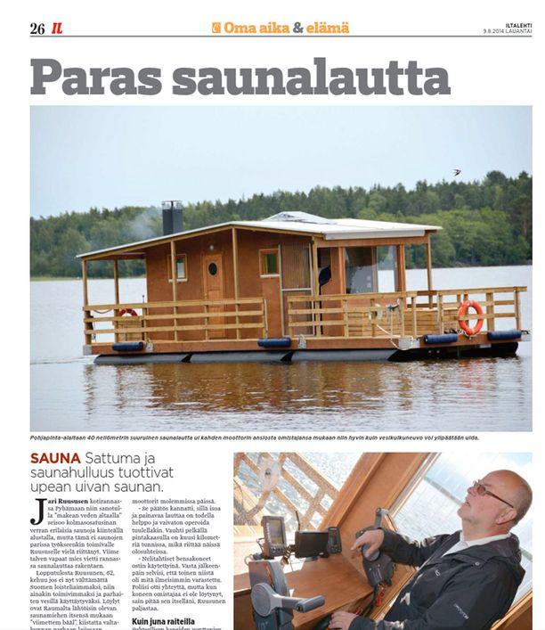 IL esitteli Jari Ruususen valmistaman saunalautan elokuussa 2014.