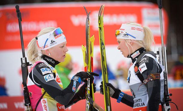Kaisa Mäkäräinen ja Mari Laukkanen debytoivat suunnistuspoluilla lauantaina.