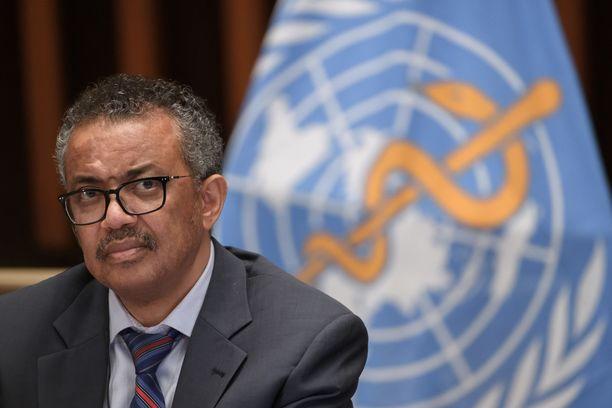Maailman terveysjärjestön pääjohtaja Tedros Adhanom Ghebreyesus tiedotustilaisuudessa 3. heinäkuuta.