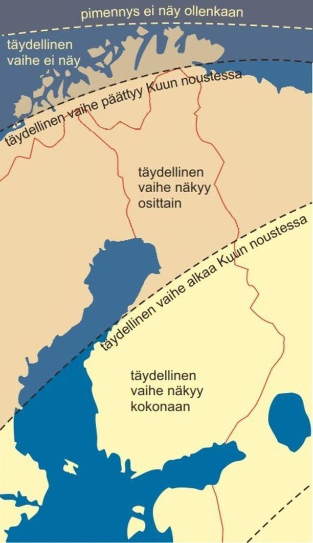 Ursan kartan mukaan pimennyksen täydellinen vaihe näkyy koko kestonsa ajan, 1 tunti 43 minuuttia, eteläisessä Suomessa,