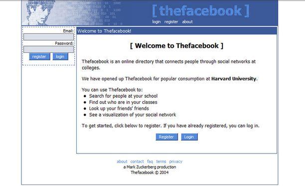 Thefacebookin ensimmäinen versio vuodelta 2004.