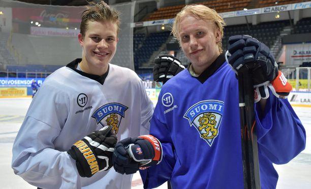 Jesse Puljujärvi (vas.) ja Patrik Laine voivat tehdä saman, mihin ovat viimeksi yltäneet Dany Heatley ja Marian Gaborik.