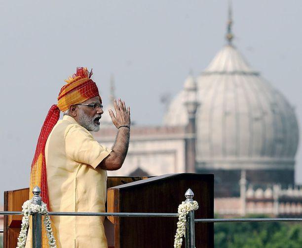Intian pääministeri Narendra Modi itsenäisyyspäivän juhlallisuuksissa viime tiistaina.